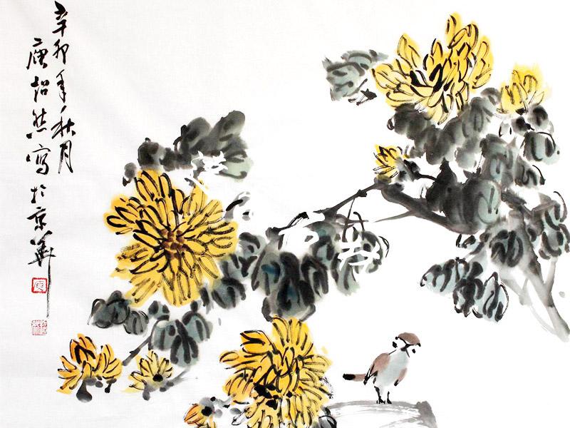 楼梯背景墙-菊